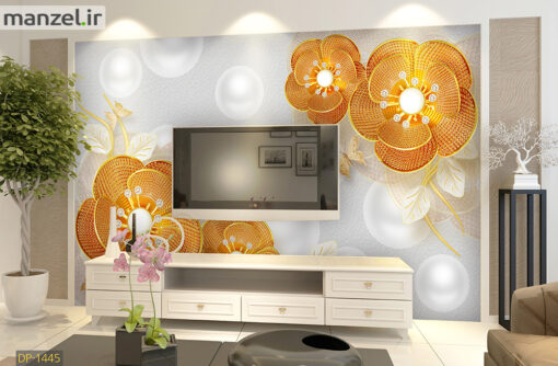 پوستر دیواری گل سه بعدی طلایی رنگ DP-1445