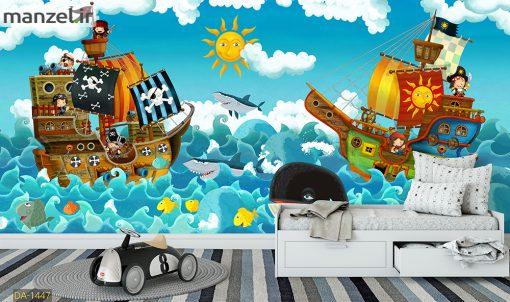 پوستر دیواری کشتی و دریای کارتونی DA-1447