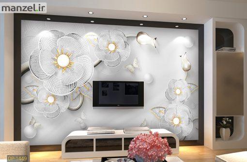 پوستر دیواری گل سه بعدی نقره ای رنگ DP-1449