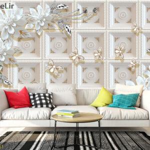 پوستر دیواری سفید و پروانه DP-1461
