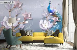 پوستر دیواری طاووس و گل DA-1466