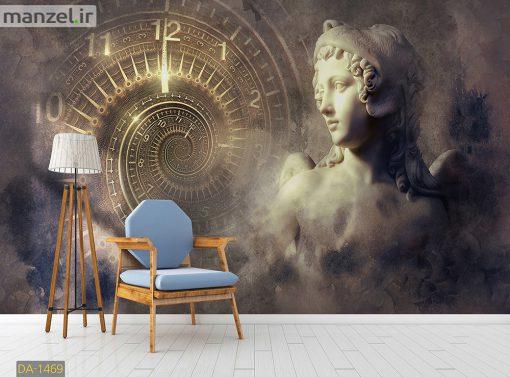 پوستر دیواری مجسمه و ساعت DA-1469
