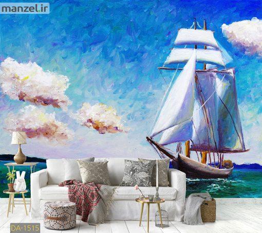 پوستر دیواری نقاشی دریا و قایق بادی DA-1515