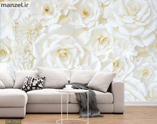 پوستر دیواری گل های سفید کاغذی DA-1562