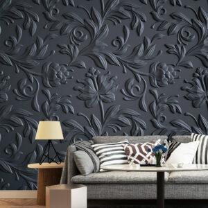 پوستر دیواری گل و برگ برجسته خاکستری DA-1596