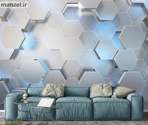 پوستر دیواری طرح هندسی آبی DA-1623
