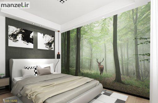 پوستر دیواری گوزن و جنگل مه آلود DA-1648