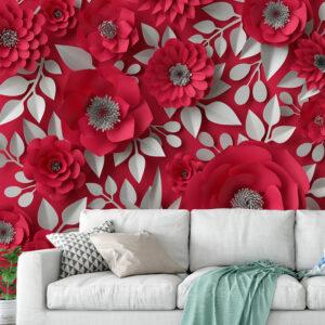 پوستر دیواری گل های کاغذی قرمز DA-1659