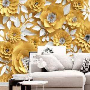 پوستر دیواری گل های کاغذی زرد رنگ DA-1664