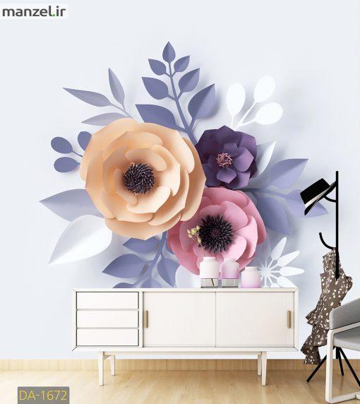 پوستر دیواری گل های کاغذی رنگی رنگی DA-1672