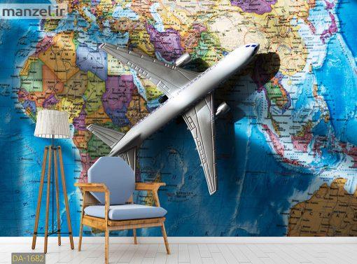 پوستر دیواری نقشه جهان و هواپیما DA-1682