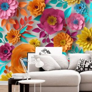 پوستر دیواری گل های کاغذی رنگارنگ DA-1687