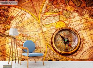 پوستر دیواری قطب نما و نقشه جهان DA-1755