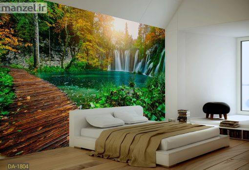 پوستر دیواری آبشار و پل چوبی DA-1804
