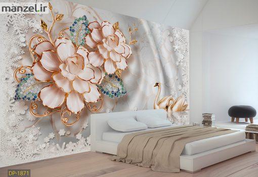 پوستر دیواری گل و قو DP-1871