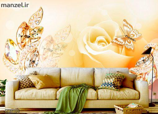 پوستر دیواری گل و پروانه DP-1872