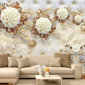 پوستر دیواری گل و گوی طلایی DP-1920