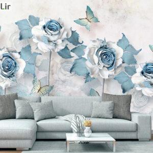 پوستر دیواری گل رز و پروانه DP-1925