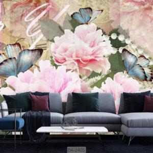 پوستر دیوار طرح گل و پروانه DA-2405