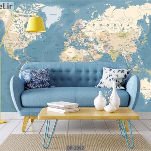 پوستر دیواری طرح نقشه جهان DP-2992