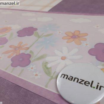 بوردر کاغذ دیواری طرح گل و زنبور کد bq271003b