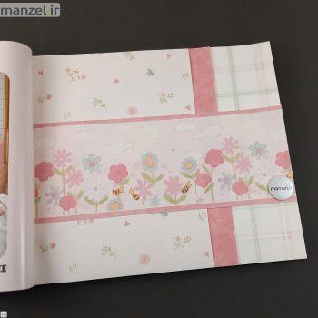 بوردر کاغذ دیواری طرح گل و زنبور کد bq271001b