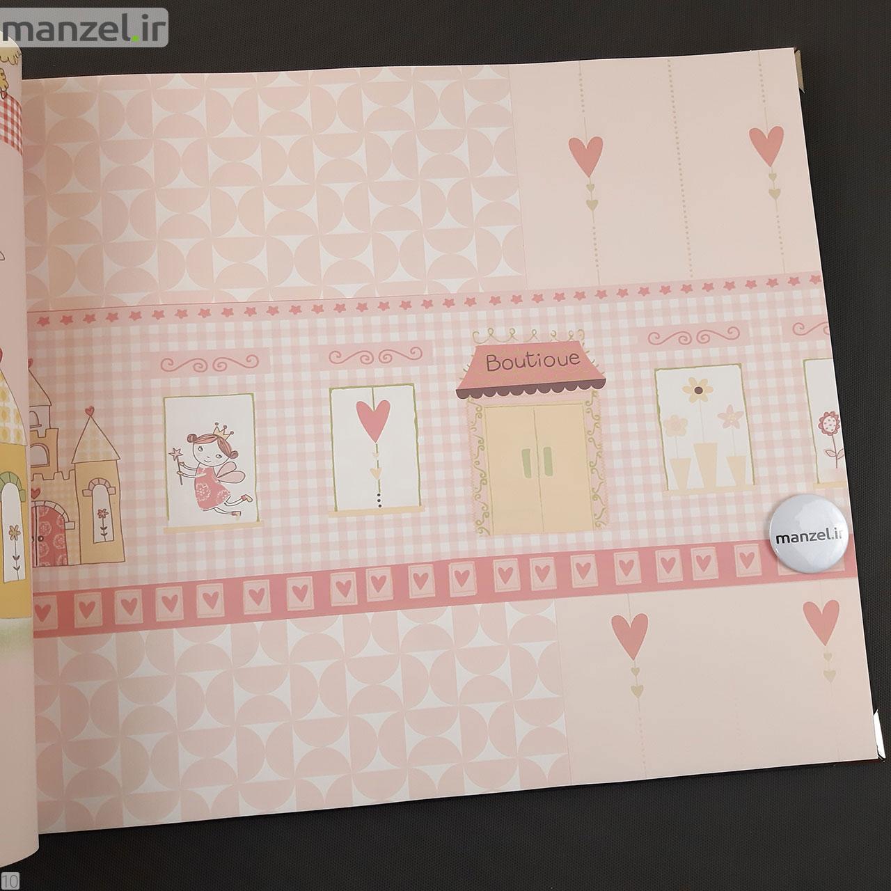 کاغذ دیواری برای اتاق کودک طرح فرشته رنگ صورتی