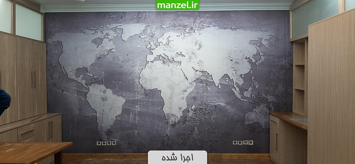 پوستر دیواری اجرا شده نقشه جهان