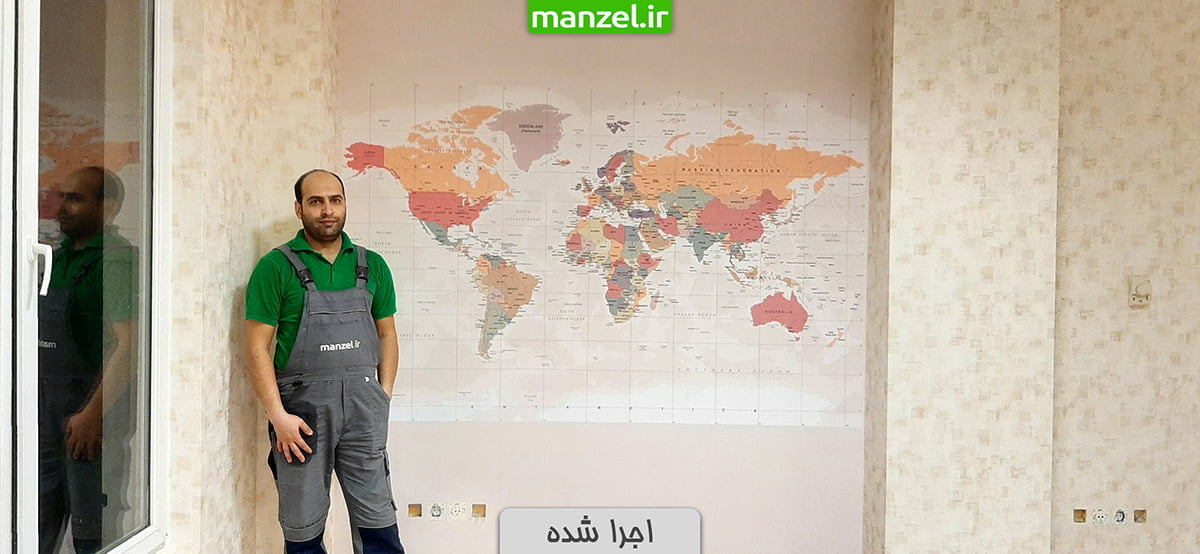 پوستر دیواری اجرا شده طرح نقشه