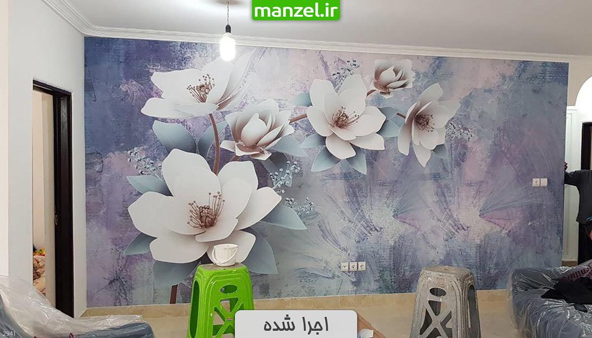 کاغذ دیواری سه بعدی گل اجرا شده 2941