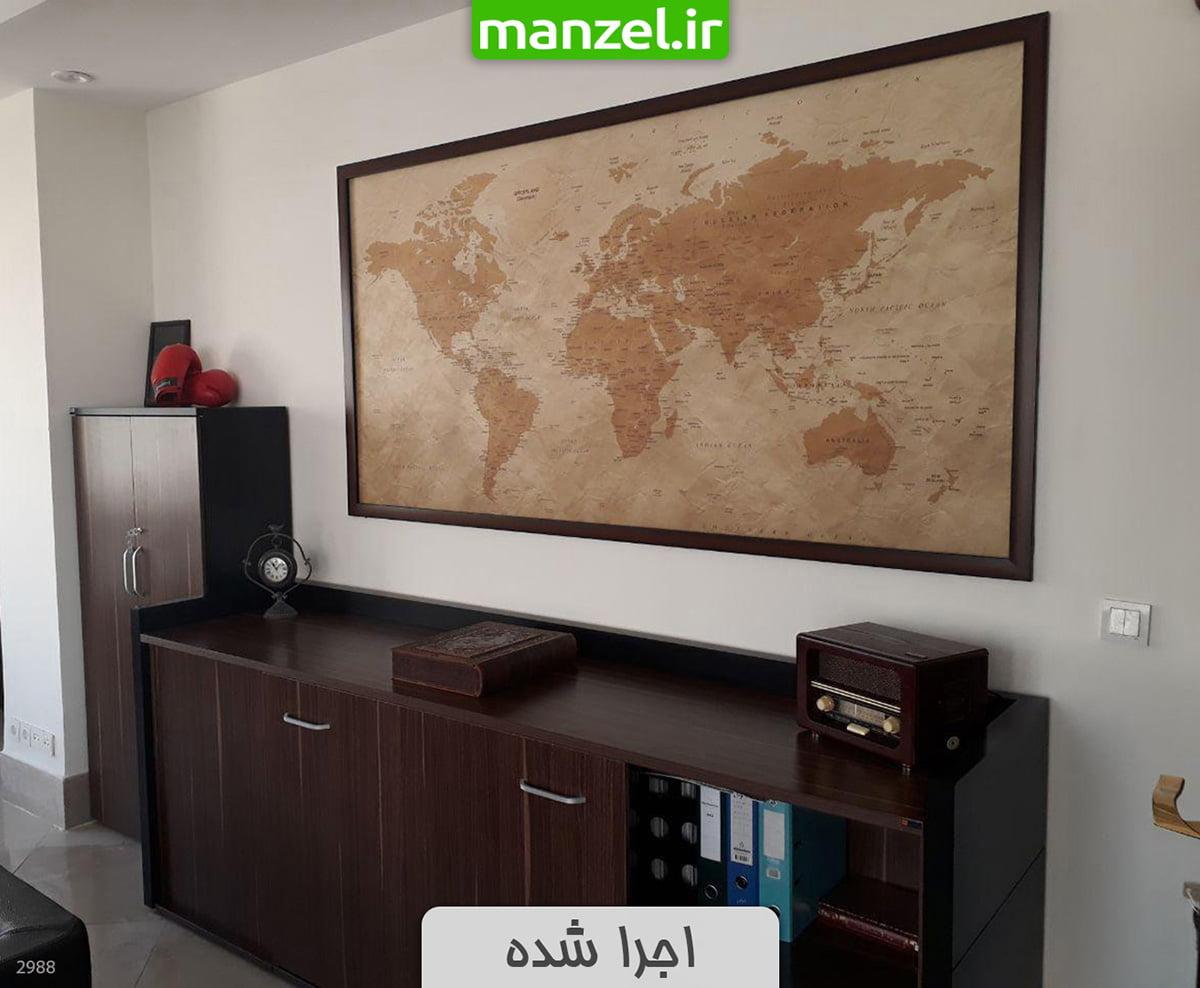 پوستر دیواری اجرا شده نقشه جهان 2988