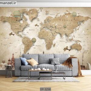 پوستر دیواری طرح نقشه جهان DP-3258