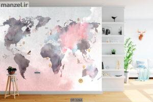 پوستر دیواری طرح نقشه جهان DP-3264