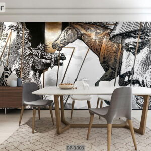 پوستر دیواری طرح چهره و اسب DP-3303