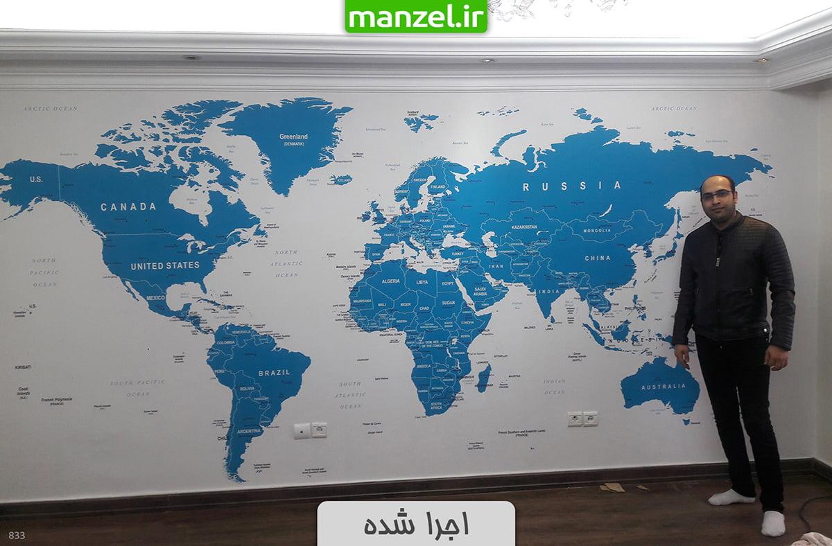 پوستر دیواری نقشه جهان اجرا شده