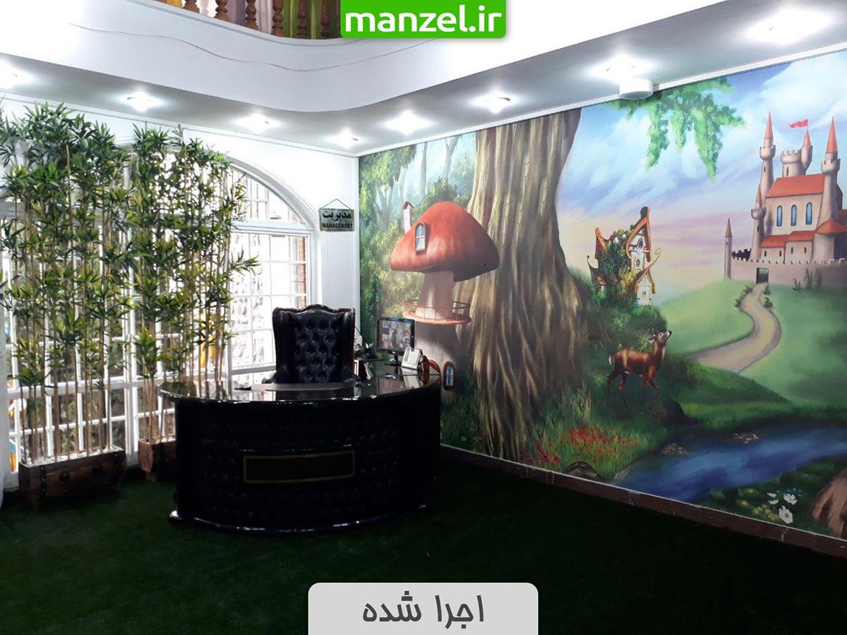 پوستر دیواری کارتونی اجرا شده در مهدکودک