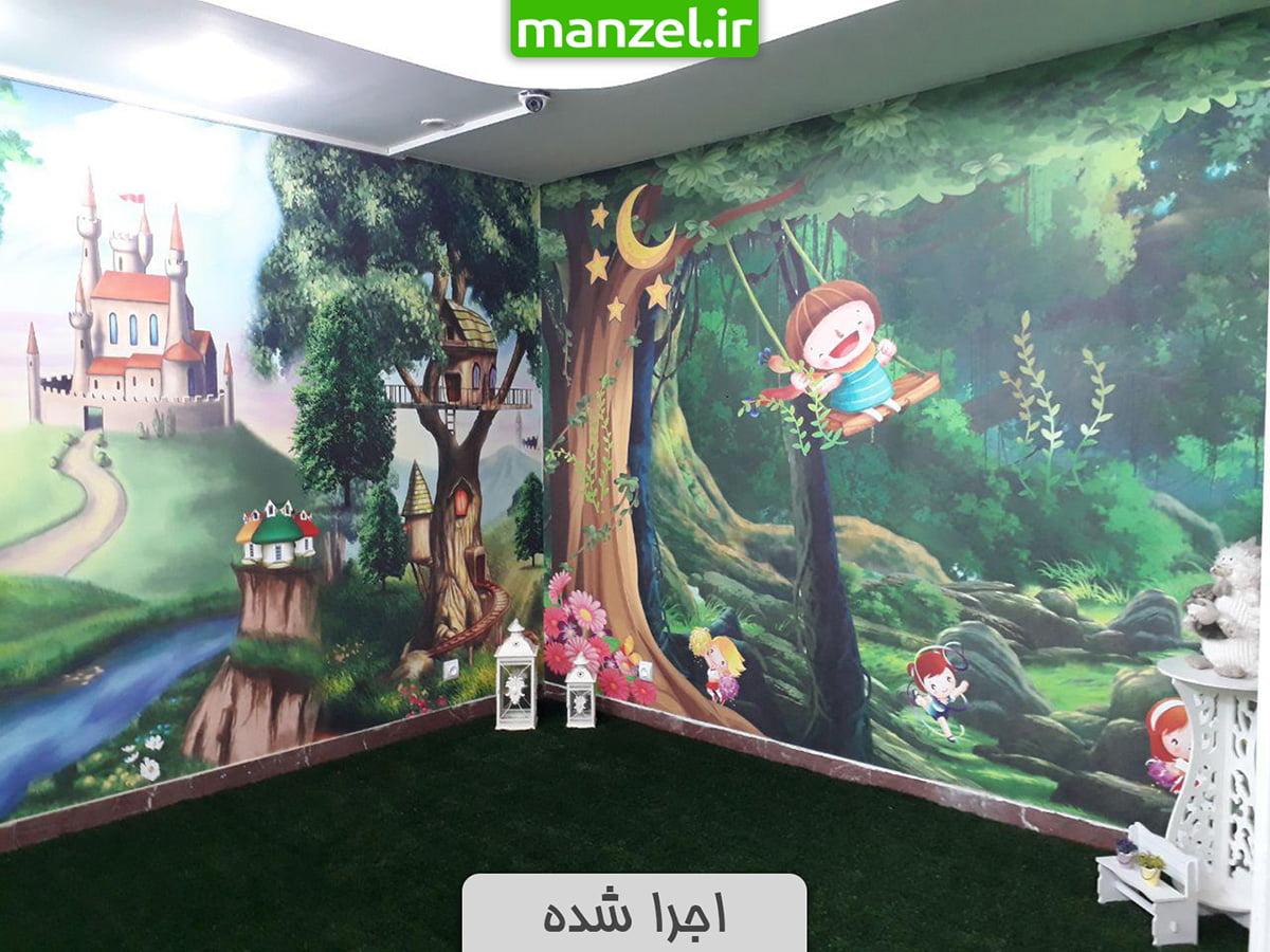 پوستر دیواری اتاق کودک اجرا شده