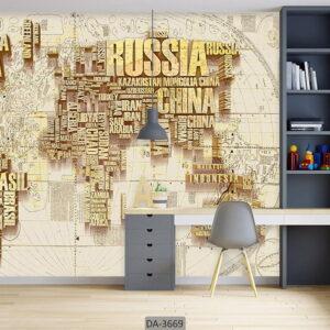 پوستر دیواری طرح نقشه جهان DA-3669