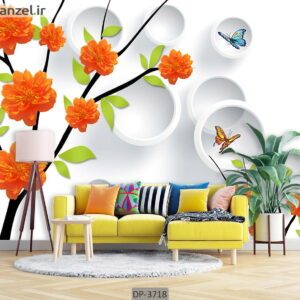 پوستر دیواری طرح گل و اشکال هندسی DP-3718