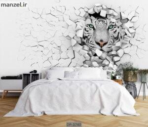 پوستر دیواری حیوانات طرح ببر سفید DP-3740