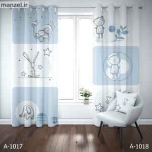 پرده پانچ چاپی طرح کودک آبی و سفید