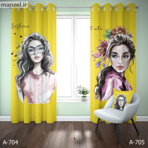 عکس پرده پانچ چاپی طرح دخترانه زرد