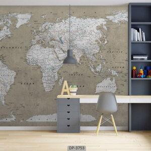 پوستر دیواری طرح نقشه جهان ۳۷۵۳-DP