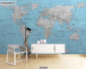 پوستر دیواری طرح نقشه جهان ۳۷۵۴-DP