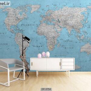 پوستر دیواری طرح نقشه جهان 3754-DP