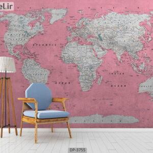 پوستر دیواری طرح نقشه جهان ۳۷۵۵-DP