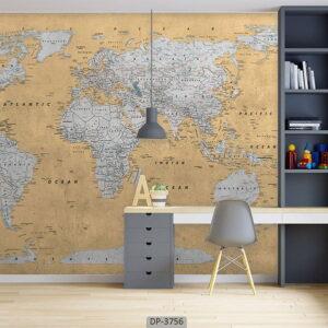 پوستر دیواری طرح نقشه جهان ۳۷۵۶-DP