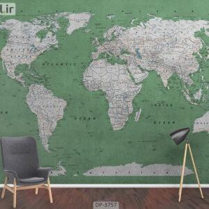 پوستر دیواری طرح نقشه جهان ۳۷۵۷-DP