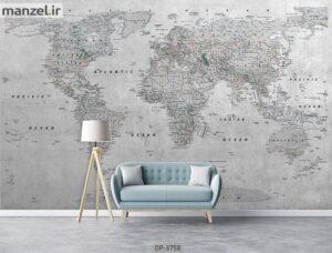 پوستر دیواری طرح نقشه جهان ۳۷۵۸-DP
