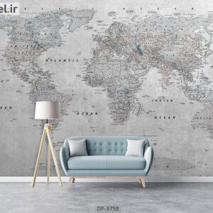 پوستر دیواری طرح نقشه جهان 3758-DP